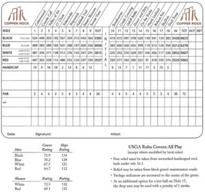 Copper Rock Golf Course Scorecard